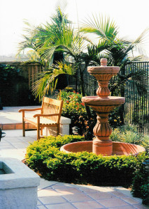 tired fountain, mediterranean landscape design San Diego CA